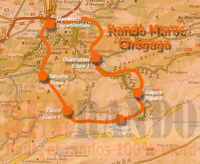 Carte de la rando raid moto Marakkech Chegaga